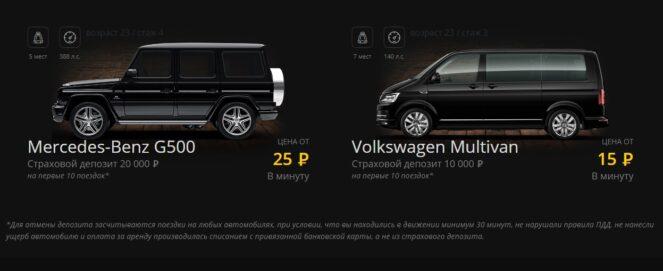 Автомобили в компании Voron